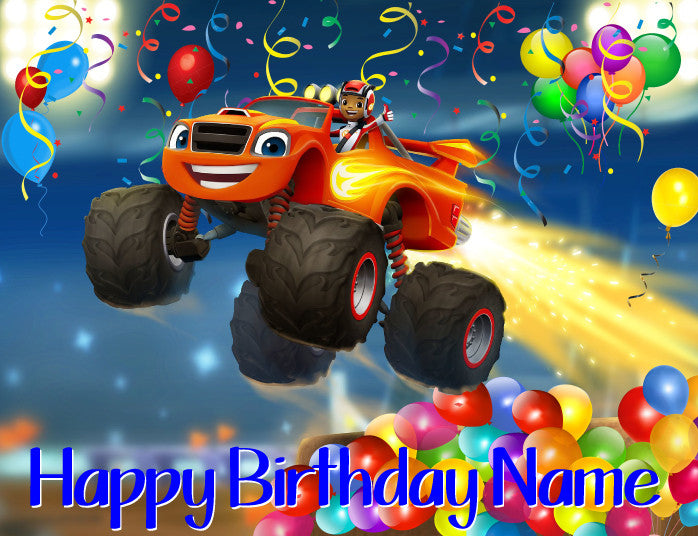 Blaze and the Monster Trucks Birthday Edible Cake Topper - Trish Gayle