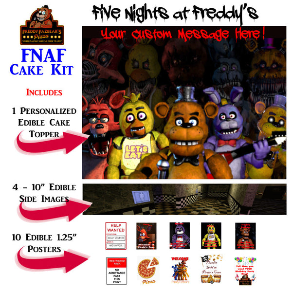 FNAF Five Nights at Freddy's Complete Edible Cake Decoration Set - Trish Gayle