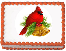 Load image into Gallery viewer, Christmas Cardinal Globe Edible Cake, Cupcake & Cookie Topper - Trish Gayle