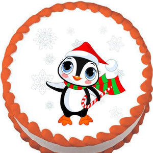 Christmas Penguin Edible Cake, Cupcake & Cookie Topper - Trish Gayle