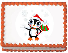 Load image into Gallery viewer, Christmas Penguin Edible Cake, Cupcake & Cookie Topper - Trish Gayle
