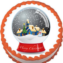 Load image into Gallery viewer, Christmas Snow Globe Edible Cake, Cupcake & Cookie Topper - Trish Gayle