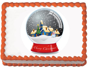 Christmas Snow Globe Edible Cake, Cupcake & Cookie Topper - Trish Gayle