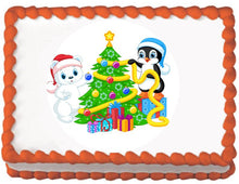 Load image into Gallery viewer, Decorating the Tree Christmas Edible Cake, Cupcake & Cookie Topper - Trish Gayle