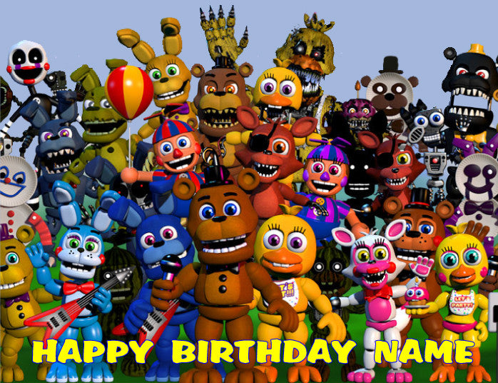 Fnaf Five Nights At Freddy S World Edible Cake Topper