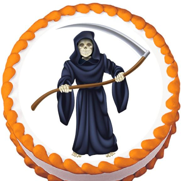 Grim Reaper Halloween Edible Cake, Cupcake & Cookie Topper - Trish Gayle