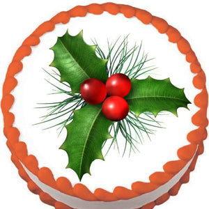 Christmas Holly Edible Cake, Cupcake & Cookie Topper - Trish Gayle