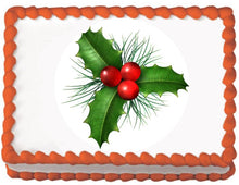 Load image into Gallery viewer, Christmas Holly Edible Cake, Cupcake & Cookie Topper - Trish Gayle