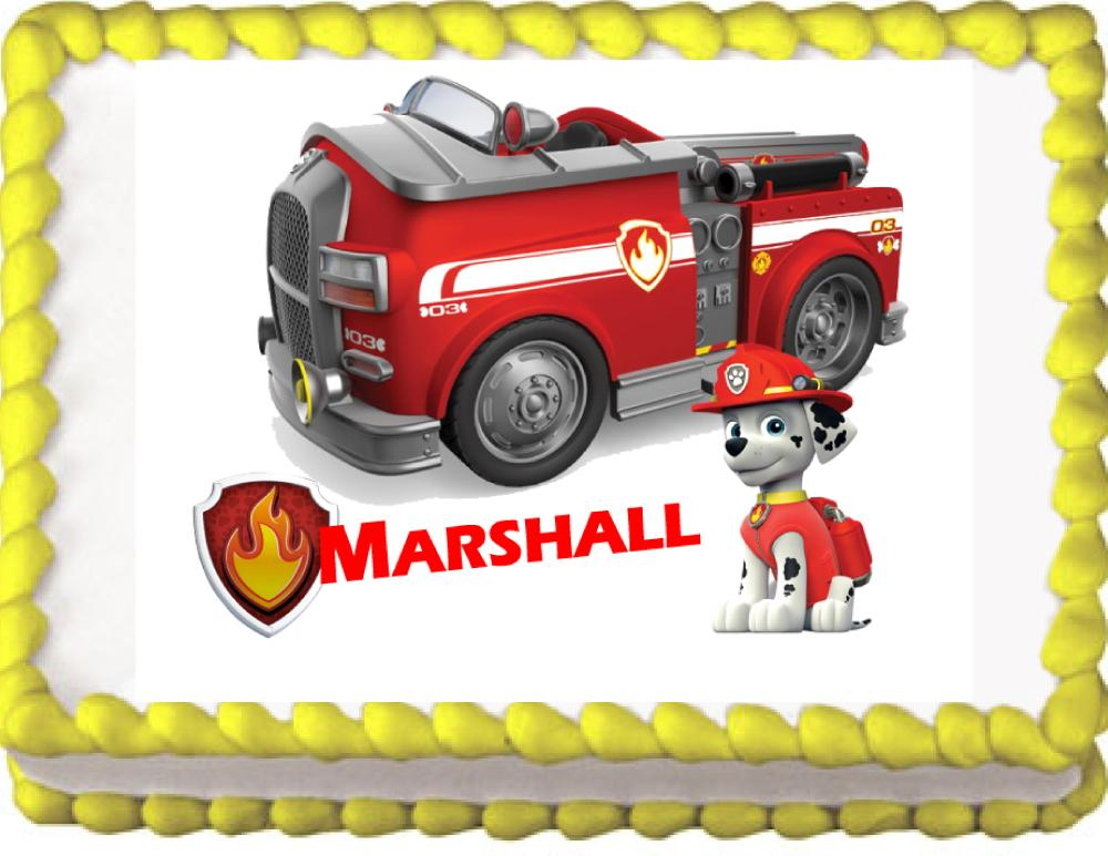 Paw Patrol Marshall Edible Cake, Cupcake & Cookie Topper - Trish Gayle