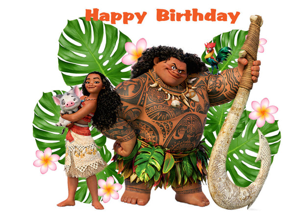 Moana and Maui Edible Cake, Cupcake & Cookie Topper - Trish Gayle