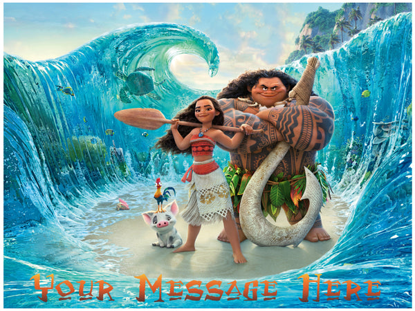 Moana and Maui on the Sea Edible Cake, Cupcake & Cookie Topper - Trish Gayle