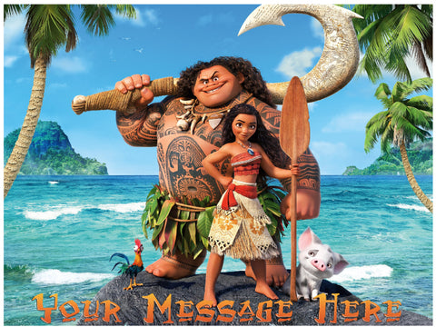 Moana and Maui on the Beach Edible Cake, Cupcake & Cookie Topper - Trish Gayle