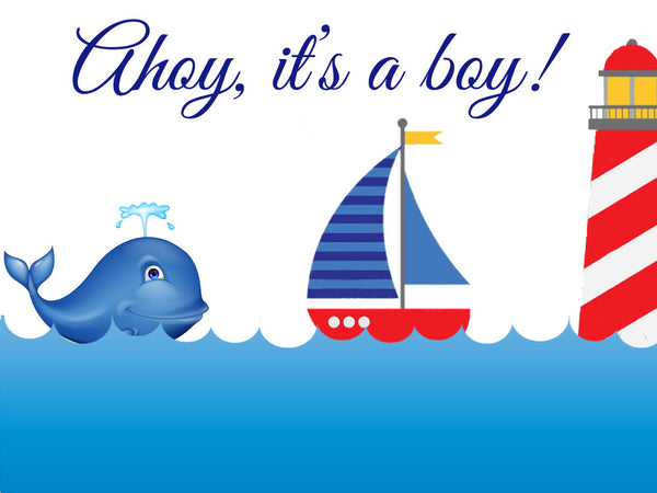 Nautical Boy Baby Shower Edible Cake, Cupcake & Cookie Topper - Trish Gayle
