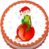 Ornament Elf Christmas Edible Cake, Cupcake & Cookie Topper