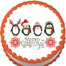 Load image into Gallery viewer, Penguin Christmas Greeting Edible Cake, Cupcake & Cookie Topper - Trish Gayle