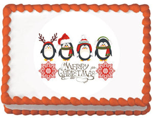 Penguin Christmas Greeting Edible Cake, Cupcake & Cookie Topper - Trish Gayle