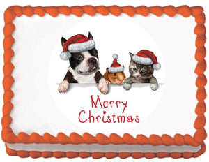 Pet Christmas Greeting Edible Cake, Cupcake & Cookie Topper - Trish Gayle