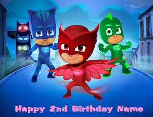 PJ Masks Night Scene Edible Cake Topper - Trish Gayle