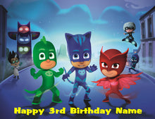 Load image into Gallery viewer, PJ Masks Night Scene Edible Cake Topper - Trish Gayle