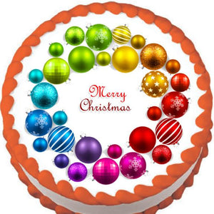 Rainbow Ornament Christmas Wreath Edible Cake, Cupcake & Cookie Topper - Trish Gayle