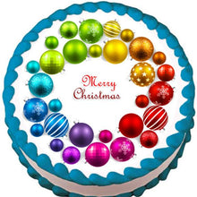 Load image into Gallery viewer, Rainbow Ornament Christmas Wreath Edible Cake, Cupcake & Cookie Topper - Trish Gayle