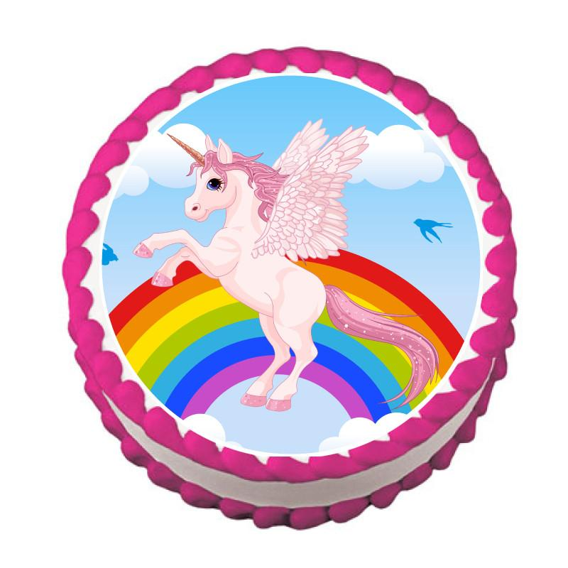 Rearing Pink Unicorn and Rainbow Edible Cake, Cupcake & Cookie Topper - Trish Gayle