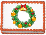 Red and Gold Christmas Wreath Edible Cake, Cupcake & Cookie Topper