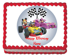 Roadster Racers Mickey & Minnie Edible Cake, Cupcake & Cookie Topper - Trish Gayle