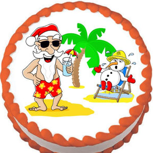 Santa's After Christmas Vacation Edible Cake, Cupcake & Cookie Topper - Trish Gayle