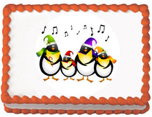 Load image into Gallery viewer, Carolling Penguins Christmas Edible Cake, Cupcake & Cookie Topper - Trish Gayle
