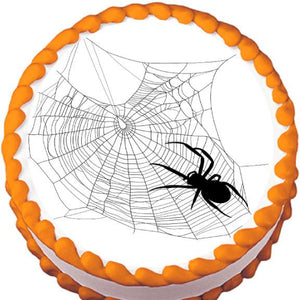 Spider on Messy Web Halloween Edible Cake, Cupcake & Cookie Topper - Trish Gayle
