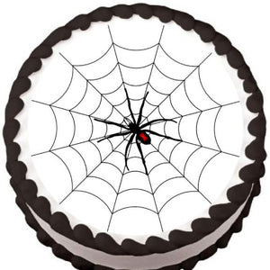 Spider on Round Web Halloween Edible Cake, Cupcake & Cookie Topper - Trish Gayle