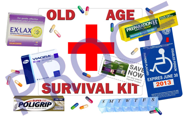 Old Age Survival Kit Edible Cake, Cupcake & Cookie Topper - Trish Gayle