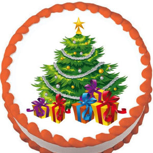 Christmas Tree and Presents Edible Cake, Cupcake & Cookie Topper - Trish Gayle