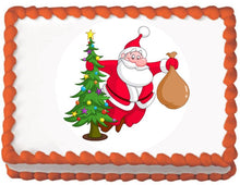 Load image into Gallery viewer, Tree Dancing Santa Christmas Edible Cake, Cupcake & Cookie Topper