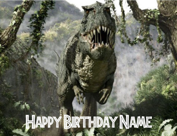 Jurassic Park T-Rex Come for Dinner Edible Cake Topper - Trish Gayle