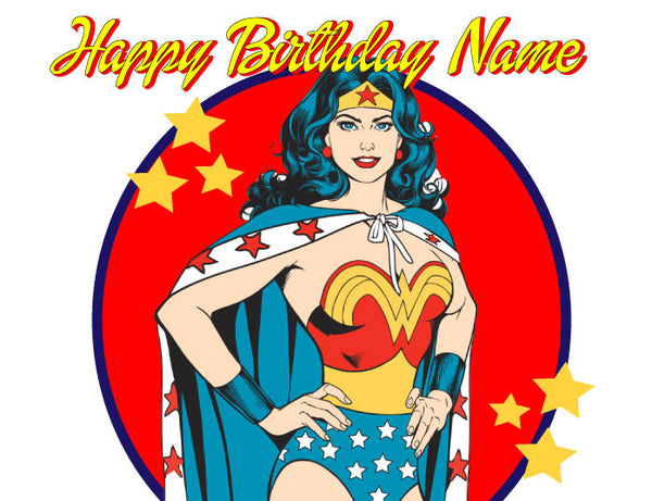 Wonder Woman Edible Cake, Cupcake & Cookie Topper - Trish Gayle