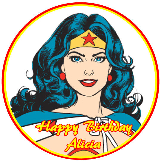 Wonder Woman Close Up Edible Cake, Cupcake & Cookie Topper - Trish Gayle