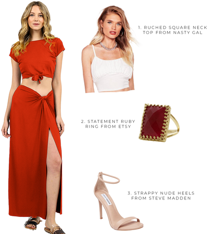 style_inspo_sara_hyland_ootd_maxi_skirt_red