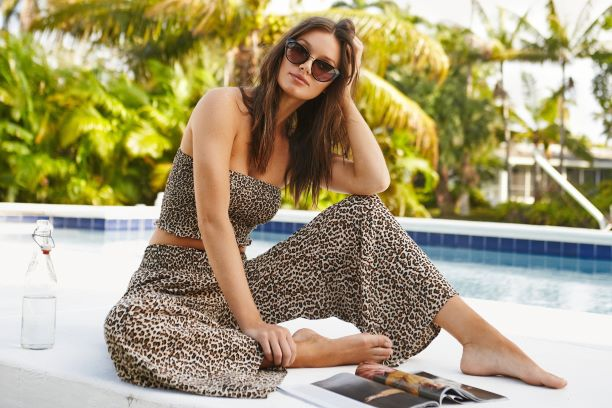 matchy leopard print set. Tube top crop top with smocked detailing and flowy pants with elastic waistband in leopard print pattern. Made in collaboration with vancouver and women-owned business brunette the label. Made for boss babes to wear as dinner outfit inspiration, an outfit for the beach, an outfit for vacation, or when at a resort exploring local attractions.