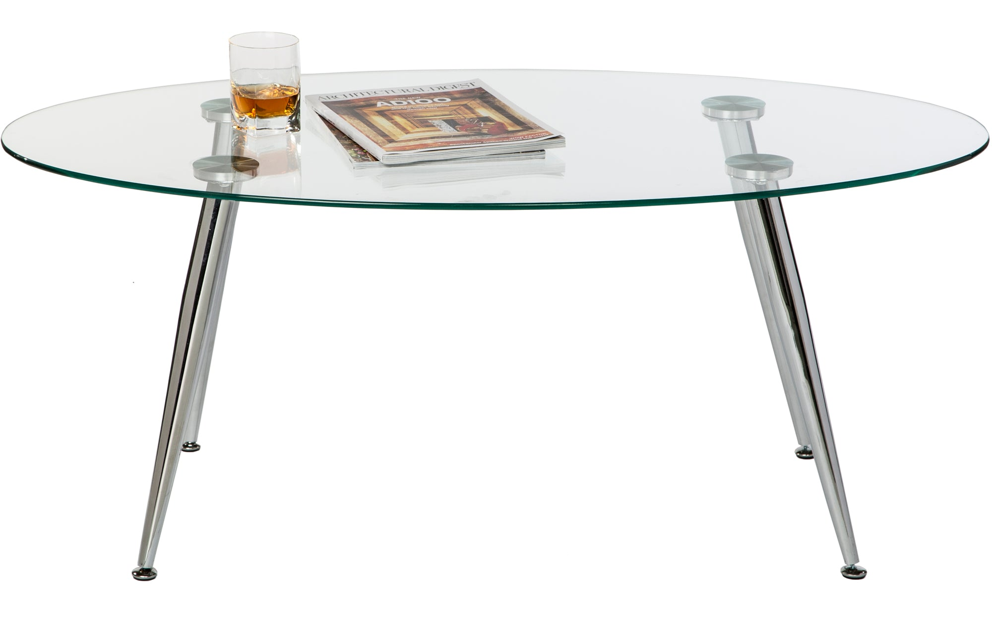 Pacifica Coffee Table Clear Tempered Glass Top And Chrome Tube Base - Chrome base glass top coffee table