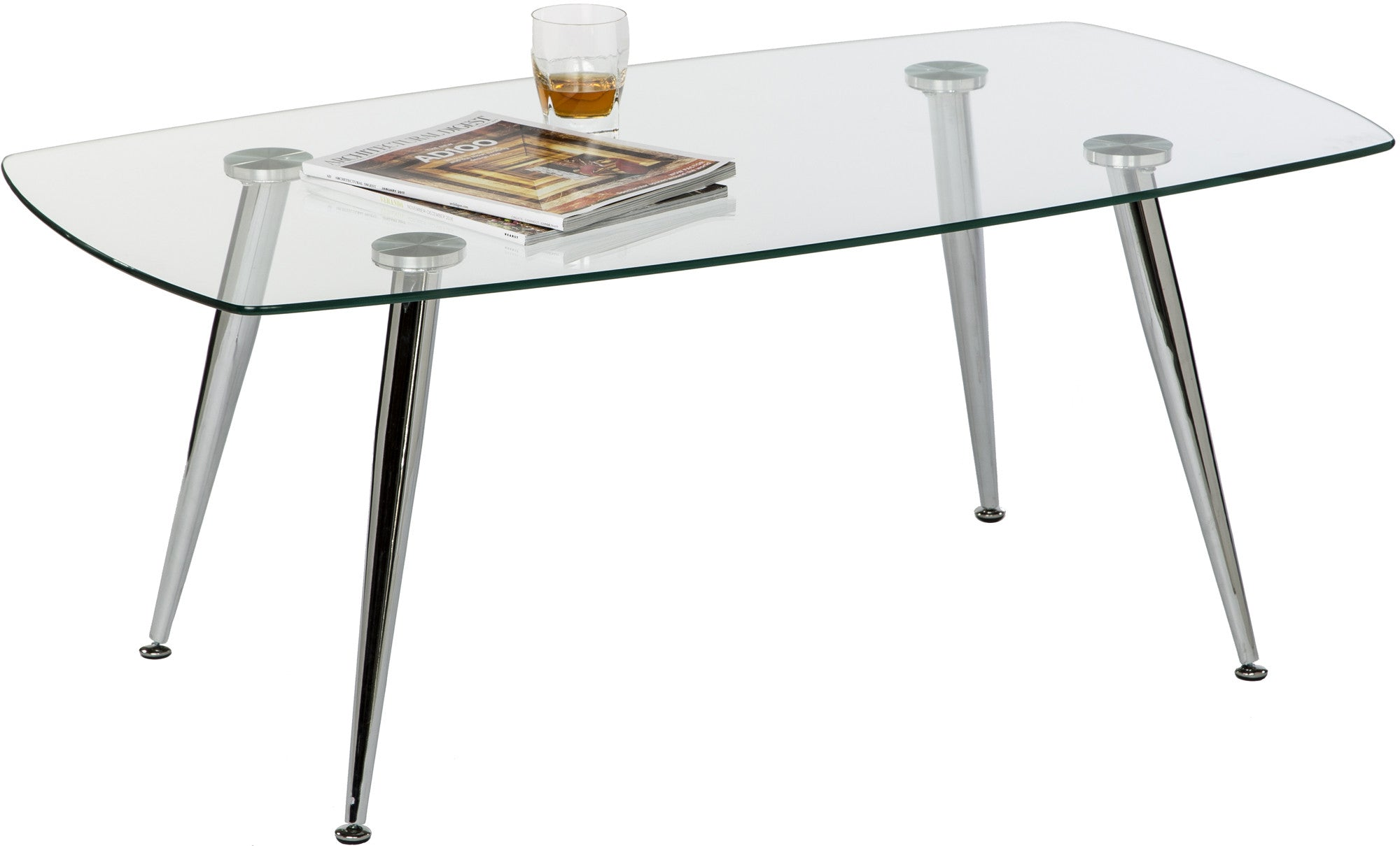 Pacifica Coffee Table Clear Tempered Glass Top And Chrome Tube Base