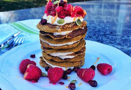Peanut Butter Protein Trail Mix Pancakes