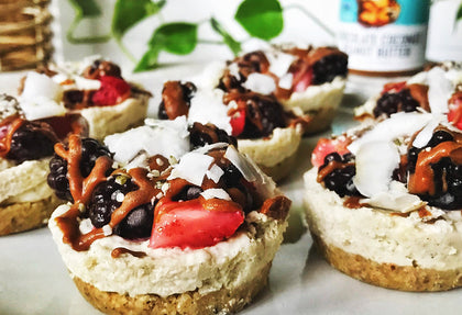 Mini Peanut Butter Vegan Cheesecakes