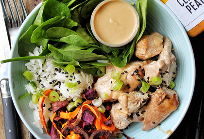 Grilled Chicken Skewers with Peanut Ginger Dipping Sauce