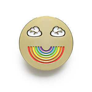 Rainbow Face enamel pin
