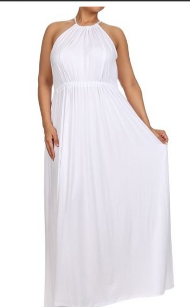 Sale-White Plus Summer Maxi