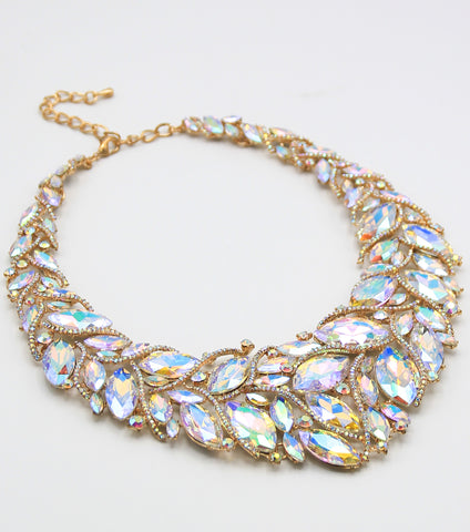 Statement Marquis Gemstone Necklace-Gold