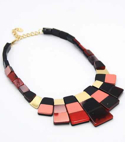 Tortoise Mosaic Bib Necklace Set