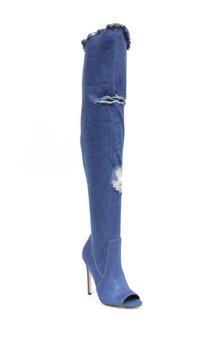 Sale-Denim thigh high boot- shoes-Clearance